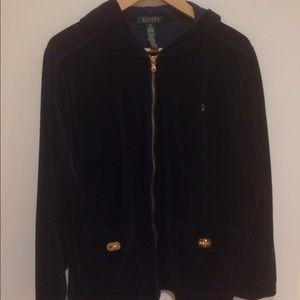 Navy Velvet Ralph Lauren Hooded Sweater